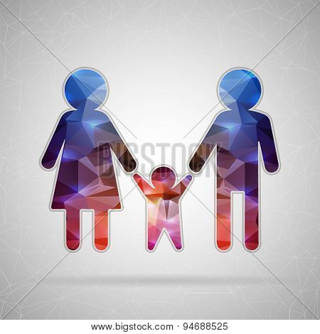 Abstract Creative concept vector icon of family for Web and Mobile Applications isolated on backgrou
