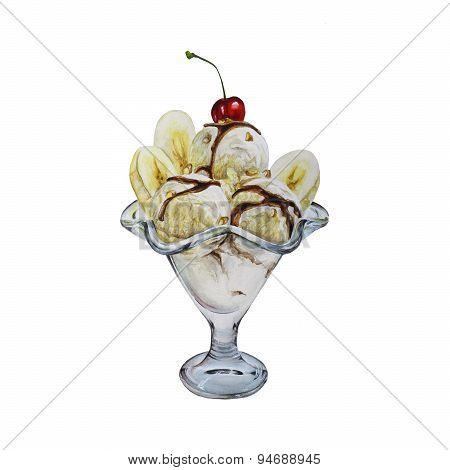 Banana ice-cream dessert watercolor illustration