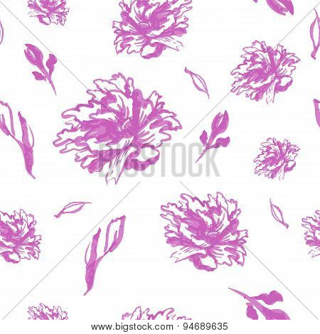 Seamless monochrome watercolor background with pink peonies