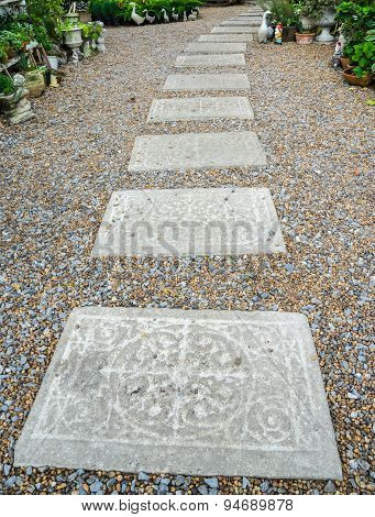 Carving Stone Walkway Winding In Garden