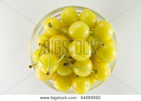 Cherries (yellow)  In A Round Glass Salad Bowl