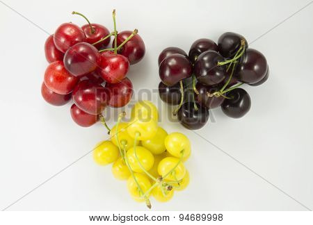 Colored Handfuls Of Cherries (sweet Cherry)