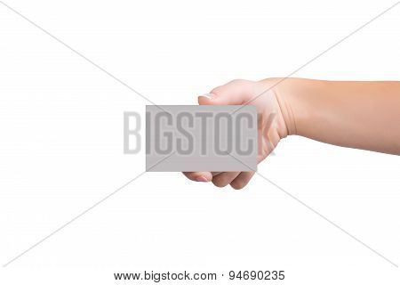 Female Holding A Blank Business Card