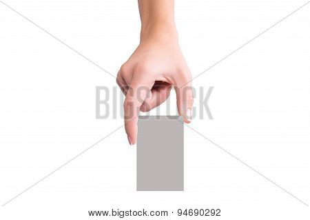 Women Hold Blank Business Card