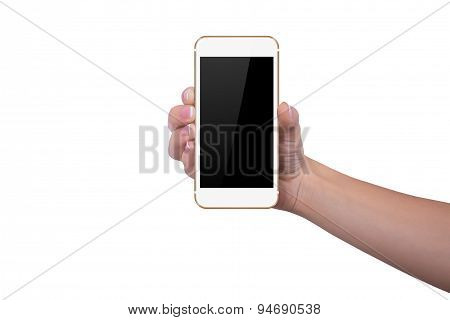 Girl Is Holding A Gold Phone In Her Right Hand