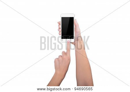 Girl Presses Home Button On White Phone