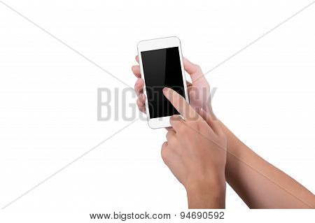 Girl Presses Index Finger On The White Phone Screen