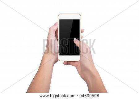 Girl Presses The Gold Phone Screen Finger Of A Hand