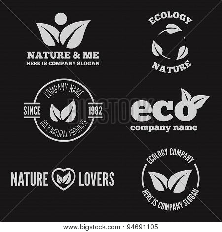 Logo, badge, label, logotype elements with leafs for web, business or nature