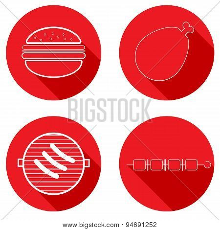 Icons Meat Products. Vector Illustration.