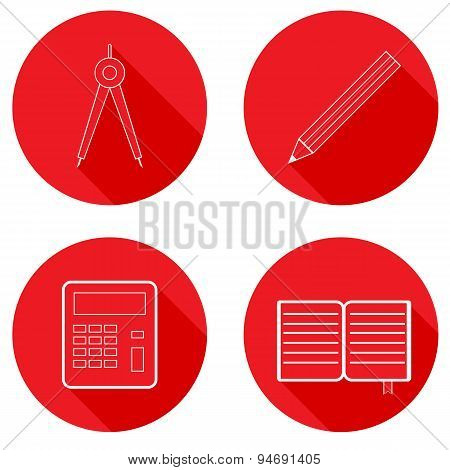 Set Of School Icons. Vector Illustration.