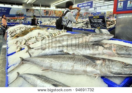 Ho Chi Minh City, Vietnam - October 8, 2013: Many Kinds Of Fish Are For Sale In A Modern Supermarket