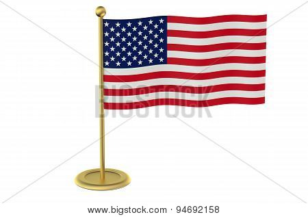 American Flag On The Golden Stand