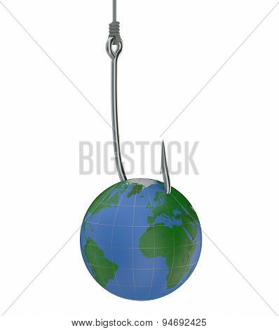 Fishing Hook With Earth