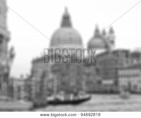 Italy. Venice. The Grand Canal And Basilica Santa Maria Della Salute. In Black And White Toned. In B