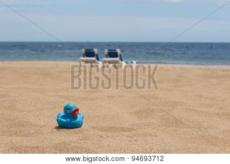 family vacation, beach, sand and duckling holiday background
