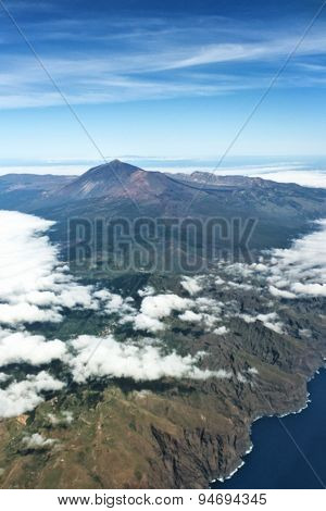 aerial island view - tenerife from above the clouds