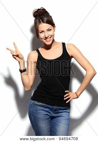 Happy Smiling Woman With Victory Hand Sign
