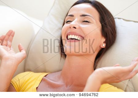 Happy Woman Laughing With Eyes Closed