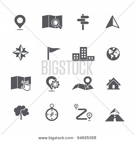 Set Of Map Navigation Icon Vector Illustration