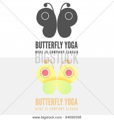 Logo, badge, label, logotype elements with butterfly for web, business, yoga, fitness or other proje