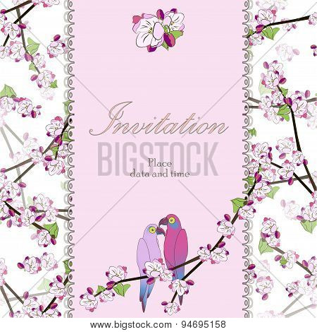 Beautiful floral invitation card with two parrots