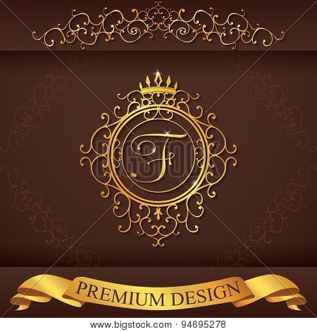 Letter F. Luxury Logo Template Flourishes Calligraphic Elegant Ornament Lines. Business Sign, Identi