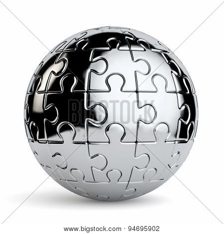 Spherical Jigsaw Puzzle Isolated