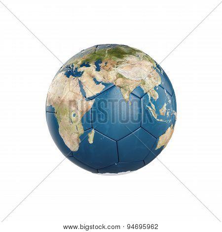 3D Globe Earth Texture On Soccer Ball Isolated