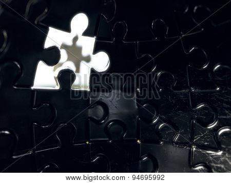 Jigsaw Sphere Puzzle With One Piece Light