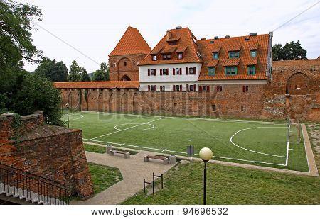 Little Soccer Field In Torun Old Town, Poland