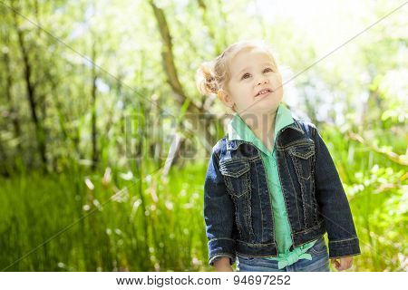Child girl forest