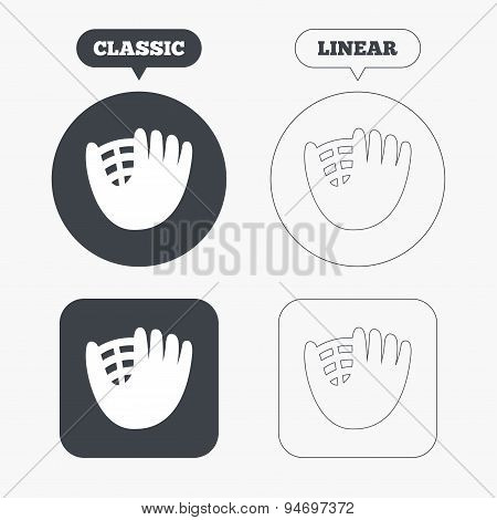 Baseball glove sign icon. Sport symbol.