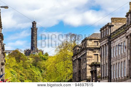 View Of Nelson's Monument On Calton Hill In Edinburgh
