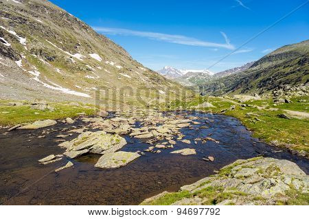 High Altitude Alpine Stream In Summertime