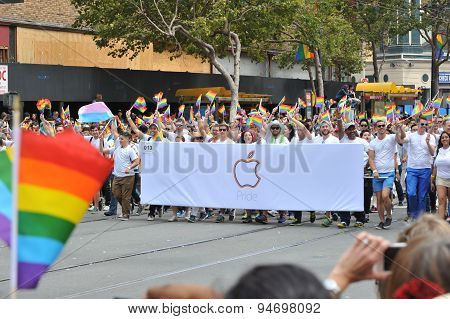 San Francisco – June 28: Paraders On Market Street In The Sf Pride Parade Enjoy The Day.