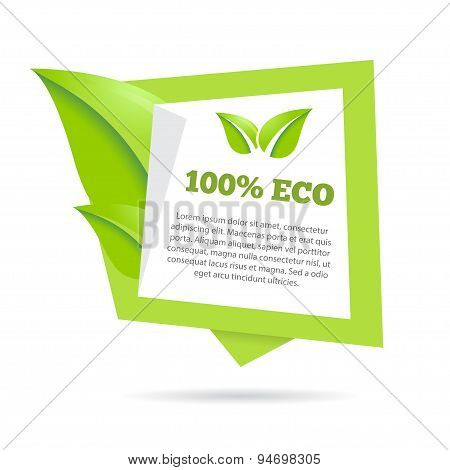 Abstract natural green banner stylized speech bubble with leafs