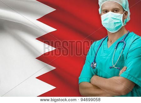 Surgeon With Flag On Background Series - Bahrain