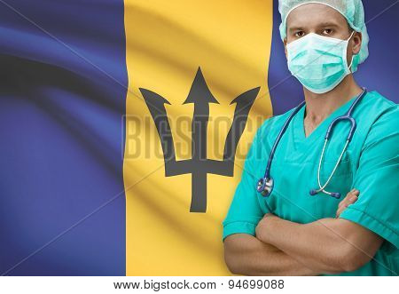 Surgeon With Flag On Background Series - Barbados