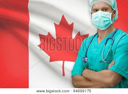 Surgeon With Flag On Background Series - Canada