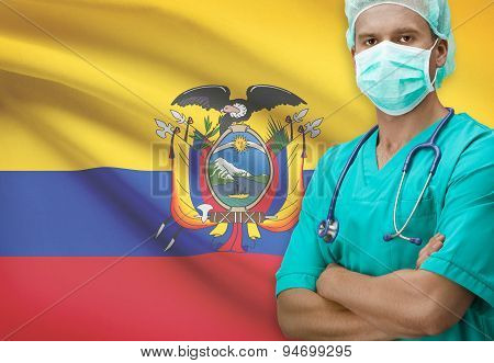 Surgeon With Flag On Background Series - Ecuador
