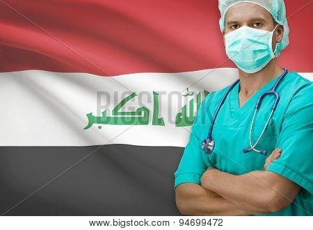 Surgeon With Flag On Background Series - Iraq