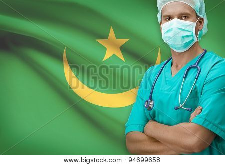 Surgeon With Flag On Background Series - Mauritania