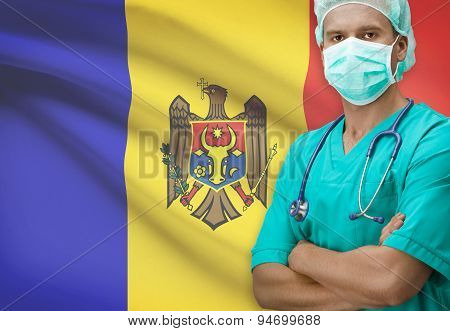 Surgeon With Flag On Background Series - Moldova