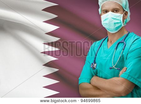Surgeon With Flag On Background Series - Qatar