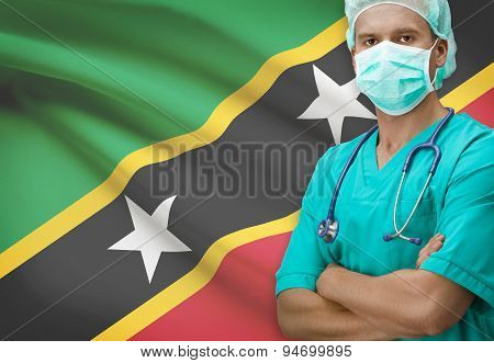 Surgeon With Flag On Background Series - Saint Kitts And Nevis