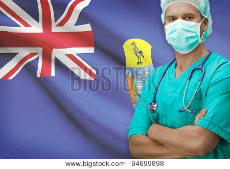 Surgeon With Flag On Background Series - Saint Helena