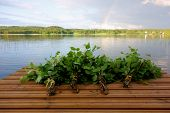 pic of jetties  - Traditional Finnish bath whisks made out of fresh birch leaves and twigs on a wet jetty by the lake on a Midsummer Eve - JPG