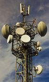 picture of antenna  - Communication antenna tower on the sky close up - JPG
