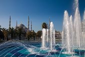 image of constantinople  - Blue Mosque and  fountain landmarks of Istanbul - JPG